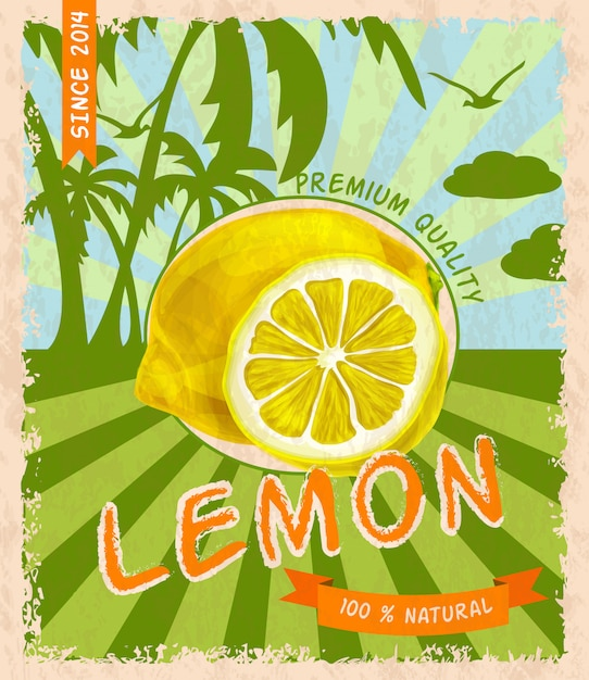 Lemon retro poster Free Vector