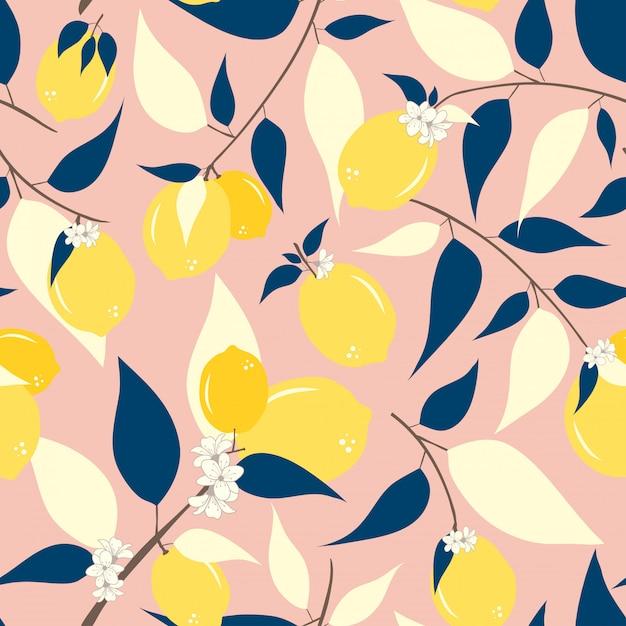 Lemon seamless pattern Premium Vector