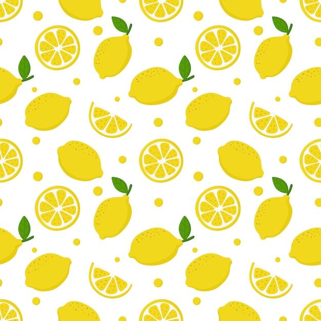 Lemon slices seamless pattern on white. fruit citrus Premium Vector