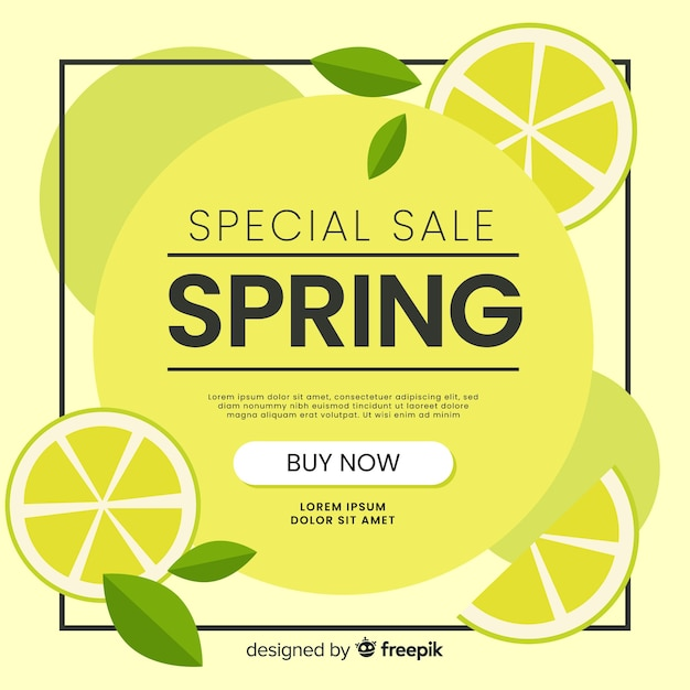 Lemon spring sale background Free Vector