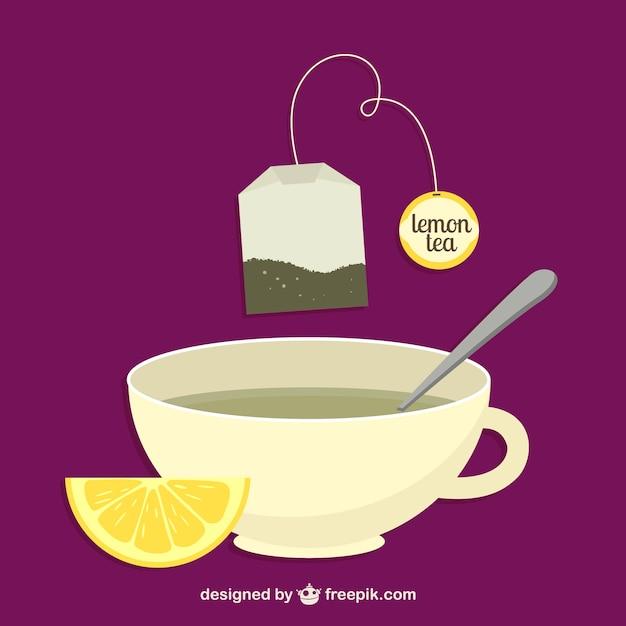 Lemon tea bag and cup vector Free Vector