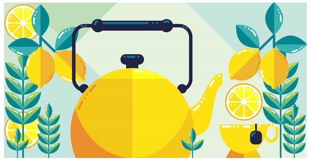Lemon tea fresh design Premium Vector