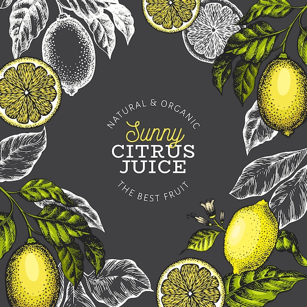 Lemon tree banner template Premium Vector