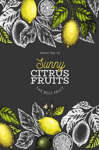 レモンツリーテンプレート。暗い背景に手描きフルーツイラスト。刻まれたスタイル。ヴィンテージの柑橘類のデザイン。 Premiumベクター