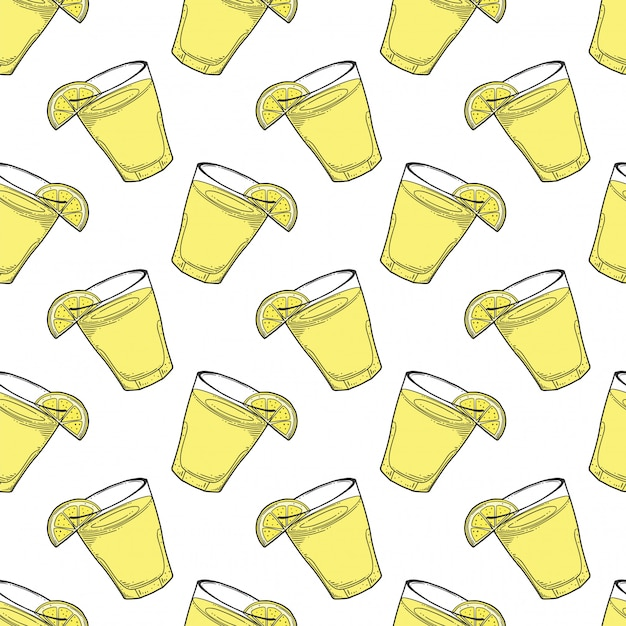 Lemonade cup with lemon slice seamless pattern in doodle and