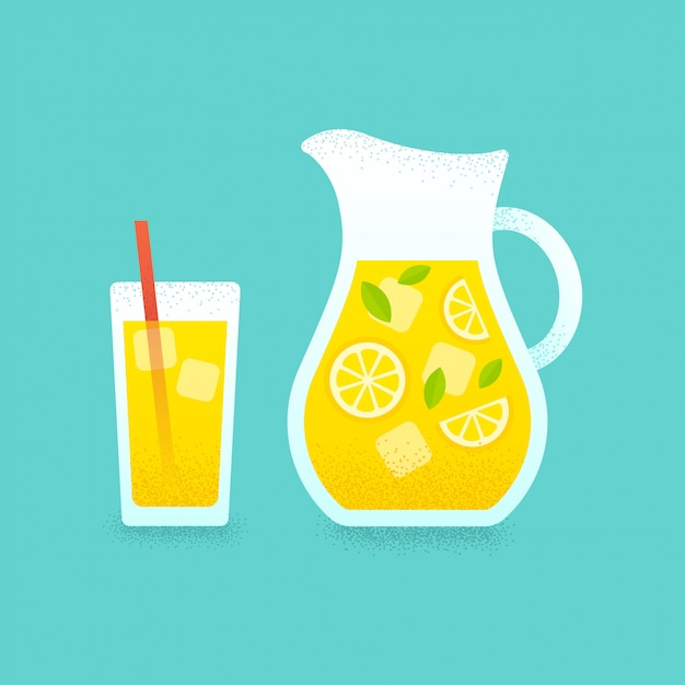 Lemonade pitcher and glass Premium Vector