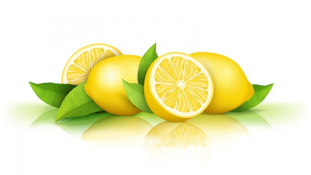 Lemons isolated on white. fresh juicy yellow fruits cut in half and whole Free Vector