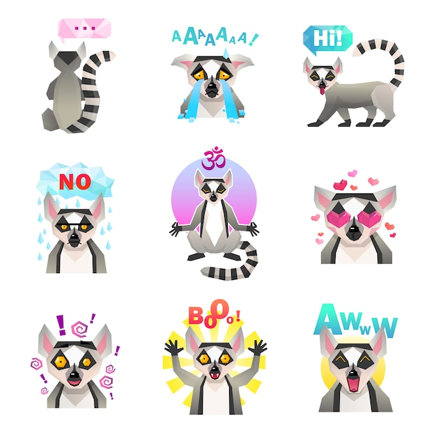 Lemur emoji stickers set Free Vector