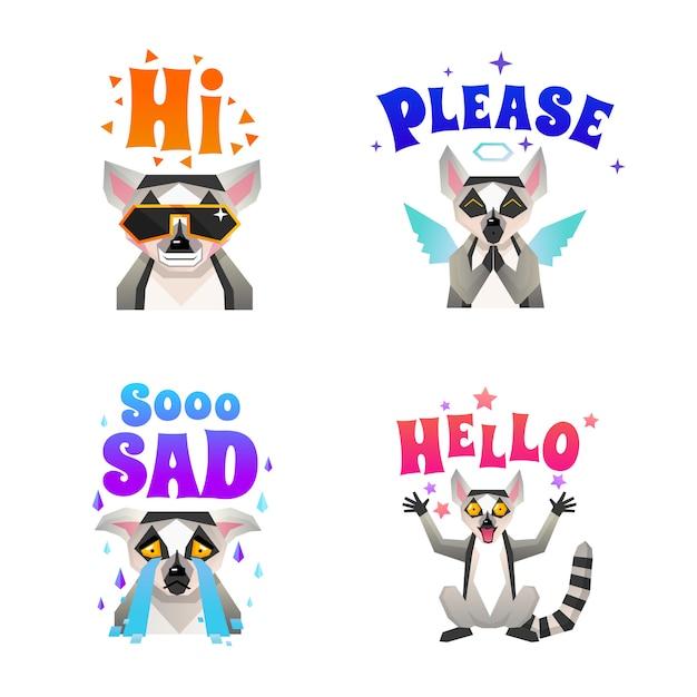 .lemur emotions polygonal icons set Free Vector