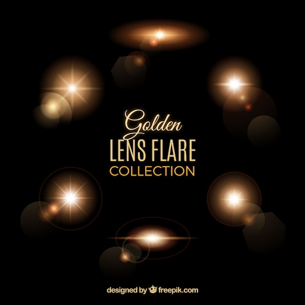 Lens flares collection in golden style Free Vector