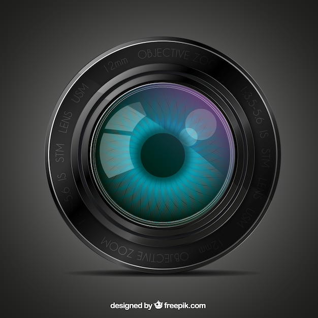 Lens with an eye Free Vector