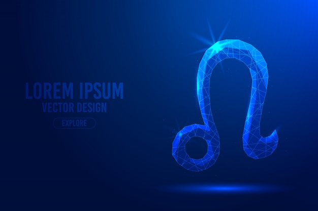 Leo fifth zodiac sign abstract background. linear and polygonal 3d concept of horoscope, celestial constellation. Premium Vector