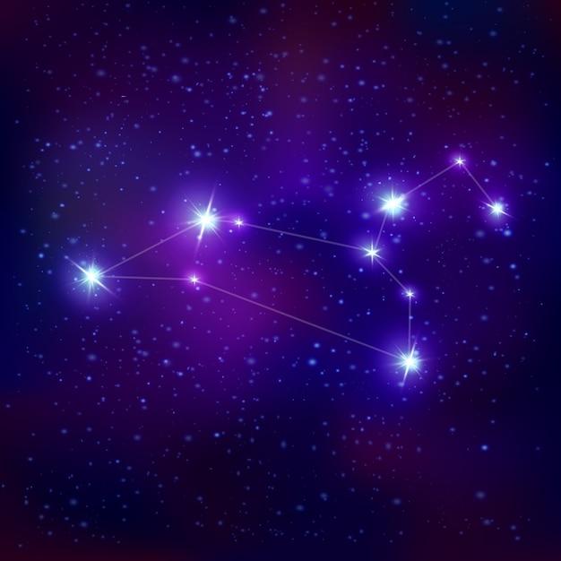 Segno zodiacale costellazione realistica leo con sistema di stelle blu luminose sul cielo notturno Vettore gratuito
