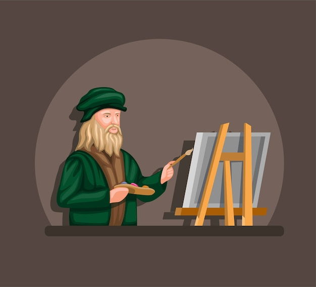 Leonardo davinci drawing and painting on canvas concept in cartoon Premium Vector