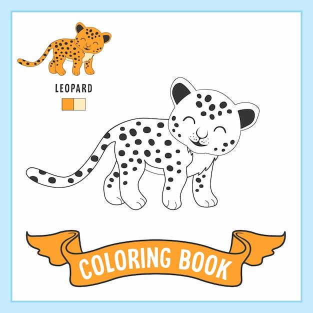 Leopard animals coloring page Vector | Premium Download