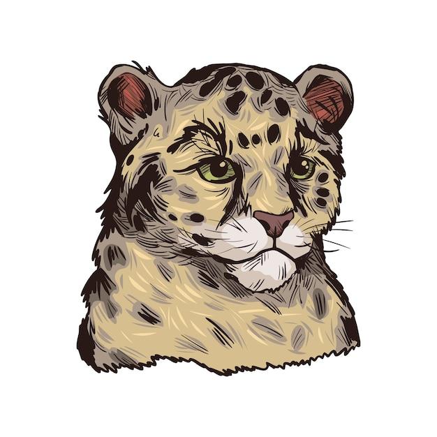 Леопард бабби, портрет экзотических животных, изолированных эскиз. рисованной иллюстрации. Premium векторы