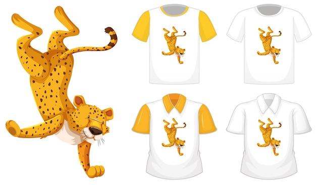 Leopardo nel personaggio dei cartoni animati di posizione di ballo con molti tipi di camicie su priorità bassa bianca Vettore gratuito