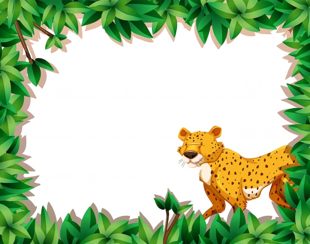 A leopard on nature frame Free Vector