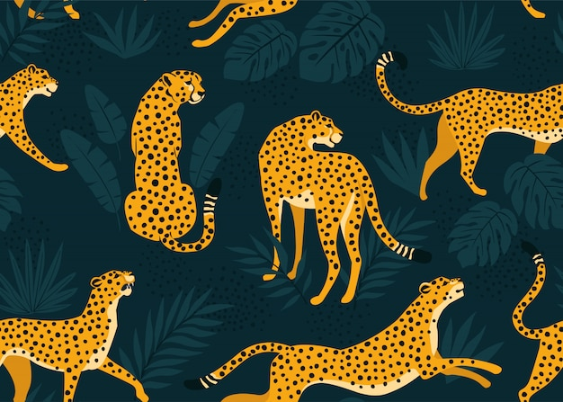 Leopard pattern with tropical leaves. vector seamless. Premium Vector
