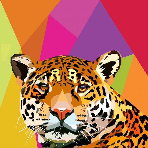 Leopard pop art vector Premium Vector