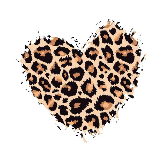 Leopard print textured hand drawn brush stroke heart shape  paint spot animal skin pattern Premium Vector