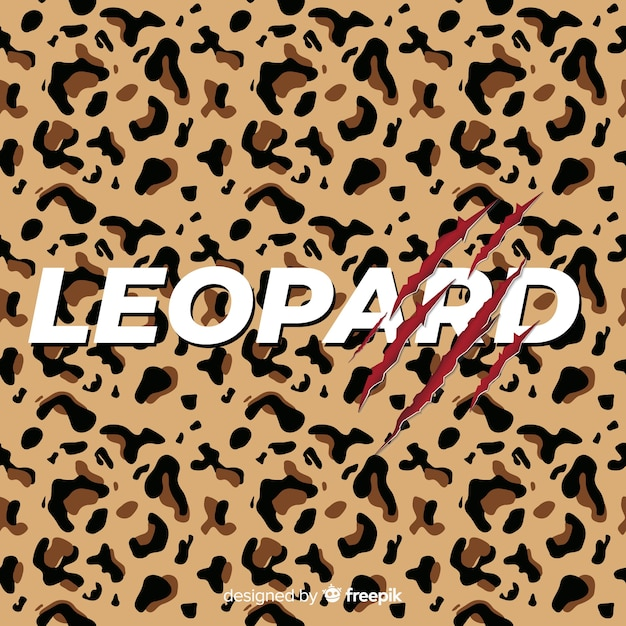 Leopard print with word background Free Vector