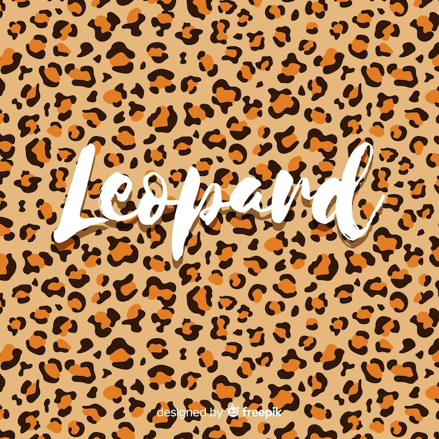 Leopard print with word background Premium Vector
