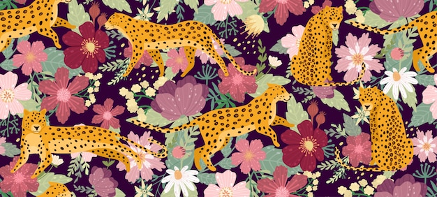 Leopards surrounded by beautiful flowers. elegant summer vector seamless pattern texture in trendy style. Premium Vector