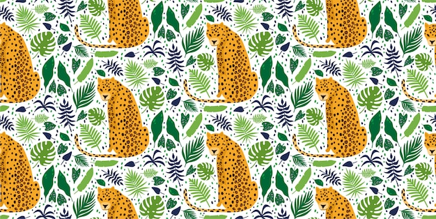 Leopards surrounded by tropical palm leaves. elegant summer vector seamless pattern Premium Vector