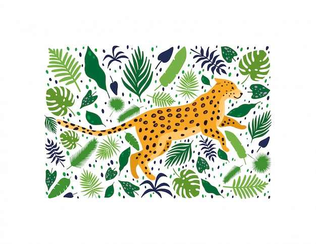 Leopards surrounded by tropical palm leaves Premium Vector