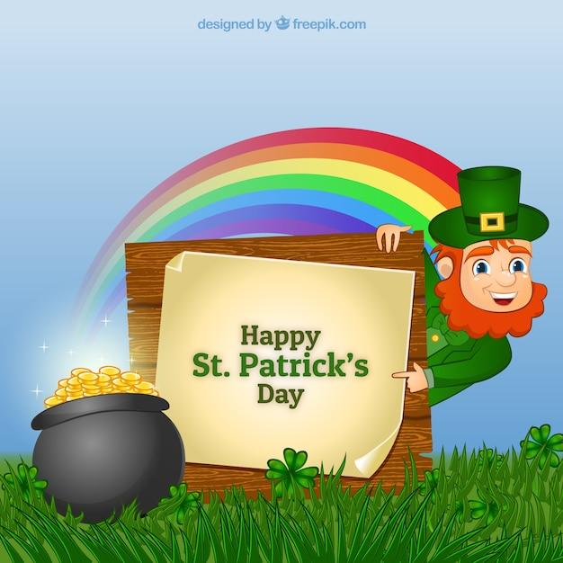 Leprechaun card for Saint Patrick Free Vector