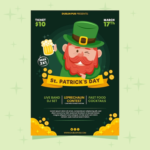 Leprechaun winking and holding beer st. patrick's day flyer Free Vector
