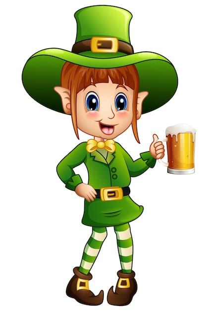 漫画の女の子leprechaunビールのガラスを保持 Premiumベクター