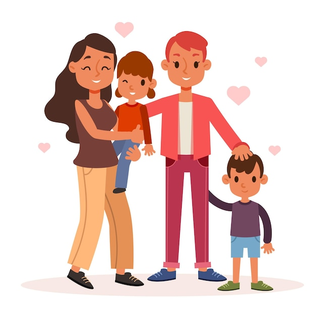 Lesbian couple with a child illustrated Free Vector