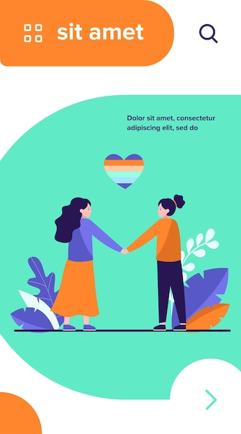 Lesbian couple with rainbow heart Free Vector
