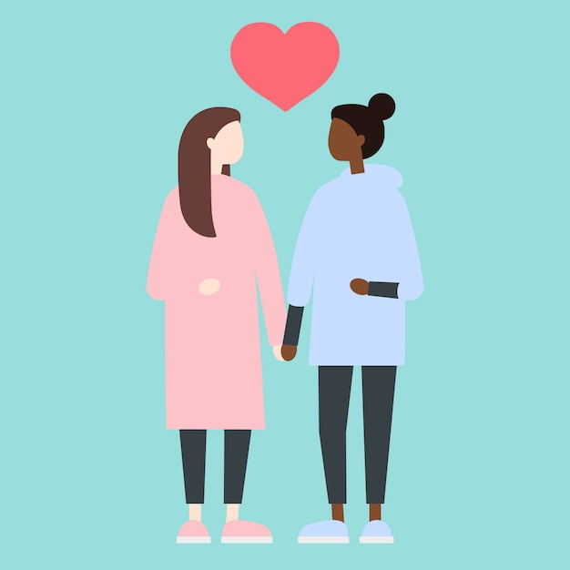 Lesbian ladies standing in front of each other Premium Vector