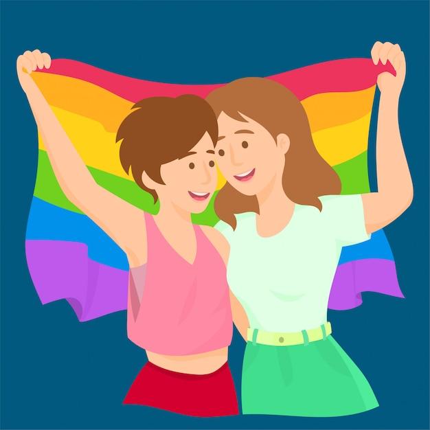Lesbians waving rainbow lgbt flag celebrating gay pride Premium Vector