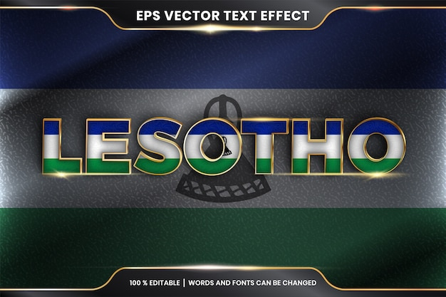 Лесото с национальным флагом страны, стиль редактируемого текстового эффекта с концепцией градиентного золотого цвета Premium векторы