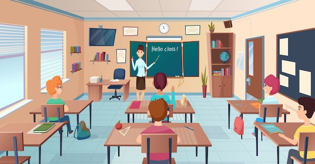 Lesson in classroom. pupils at desks and teacher standing and pointing kids study near chalkboard  cartoon background Premium Vector