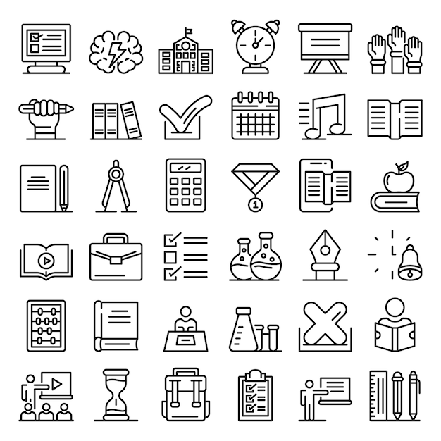Lesson icons set, outline style Premium Vector
