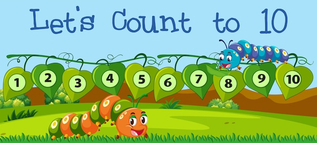 Let's count number to ten Free Vector