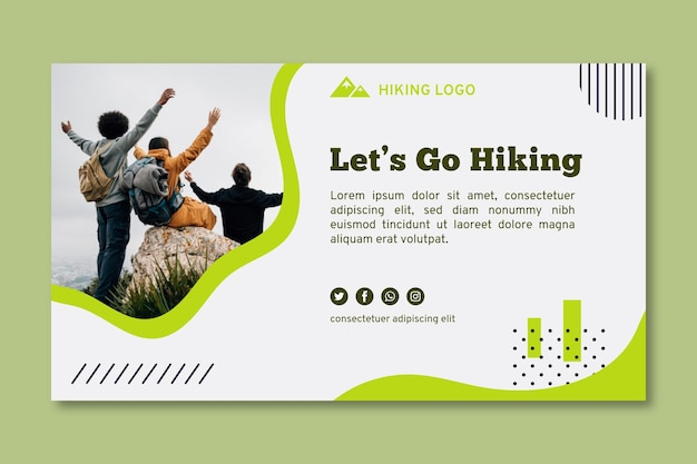 Let's go hiking banner template Premium Vector
