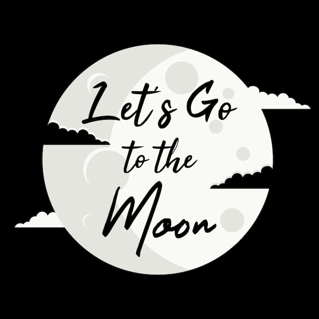 Let's go to the moon Premium Vector