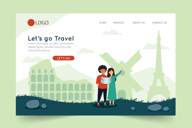 Let's go travel landing page Free Vector