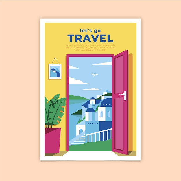 Let's go travel poster Free Vector