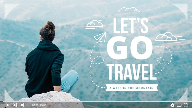 Let's go travel youtube thumbnail Free Vector