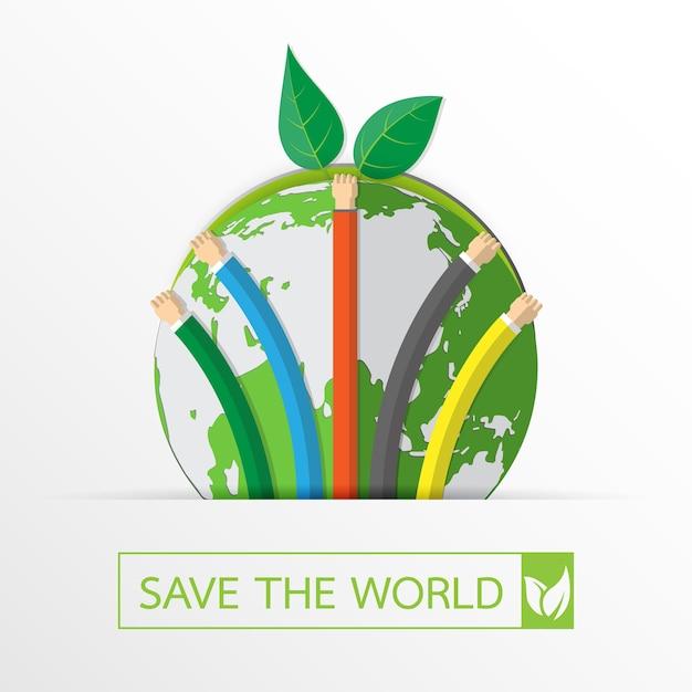世界を救って自然を守ろう。 Premiumベクター