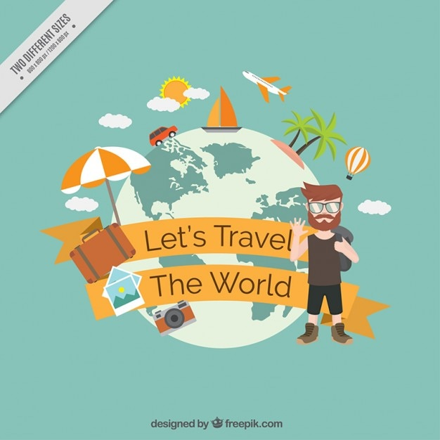 Let S Travel Aorund The World Background Vector Free