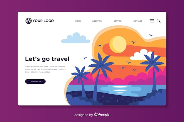 Let us go travel landing page Free Vector