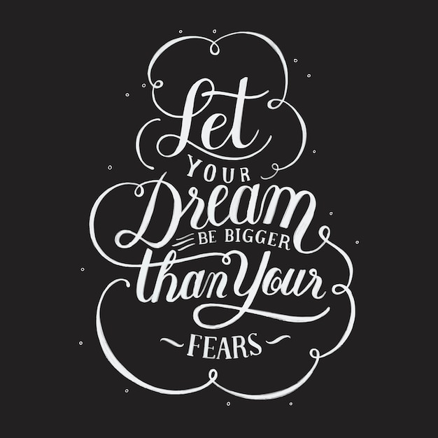 Let your dream be bigger than your fears typography design illustration Free Vector